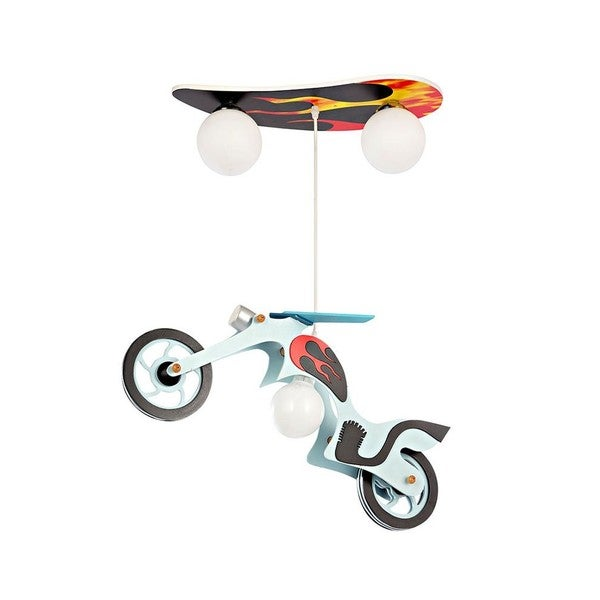 Multicolor Glass and Wood 3-light Motorcycle Pendant Light 21708901