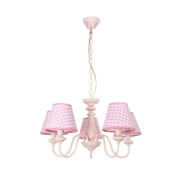 Pink Iron/Pink-and-white Fabric Shade 5-light Chandelier