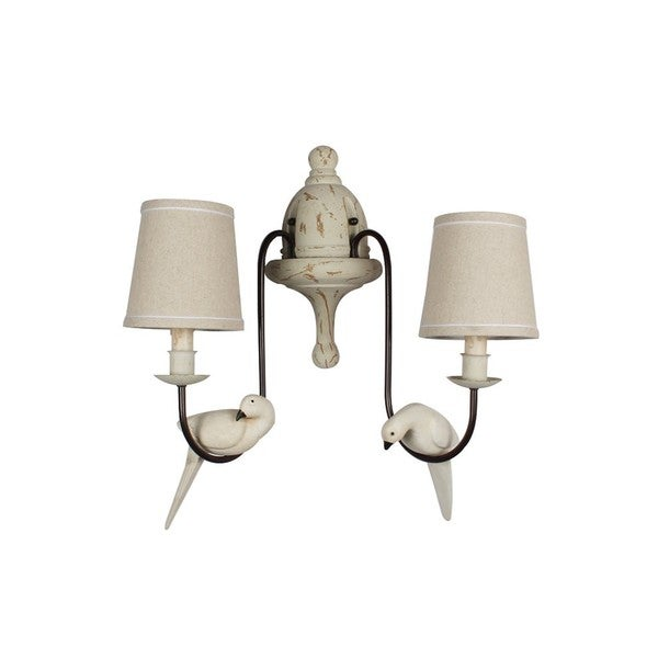 Beige Iron and Fabric 2-Light Rustic Bird Wall Sconce