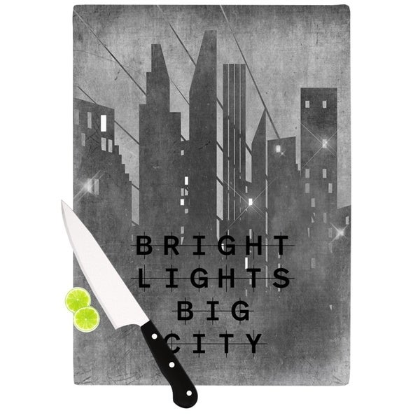 Kess InHouse Alison Coxon 'Bright Lights Big City' Multicolor Glass Cutting Board