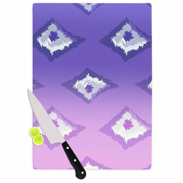 Kess InHouse Alison Coxon 'Purple Ombre Ikat' Lavender and White Glass Cutting Board