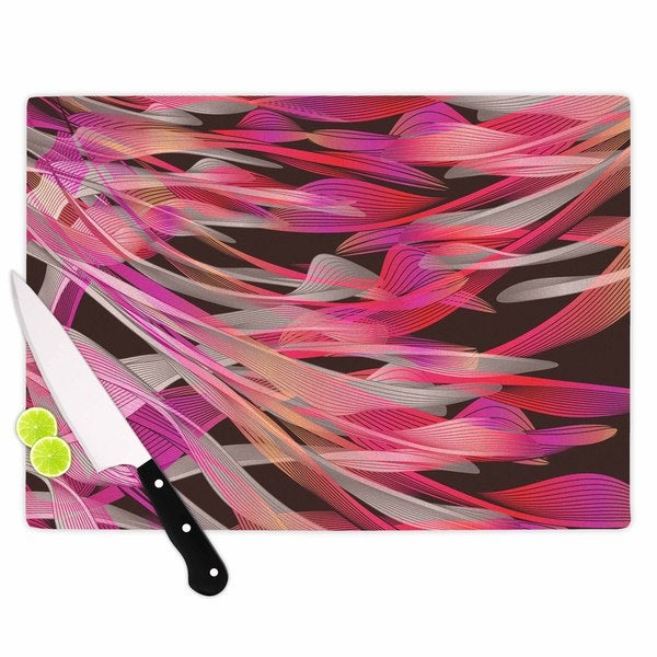 Kess InHouse Angelo Cerantola 'Tropical Electric Pink' Illustration Black Glass Cutting Board
