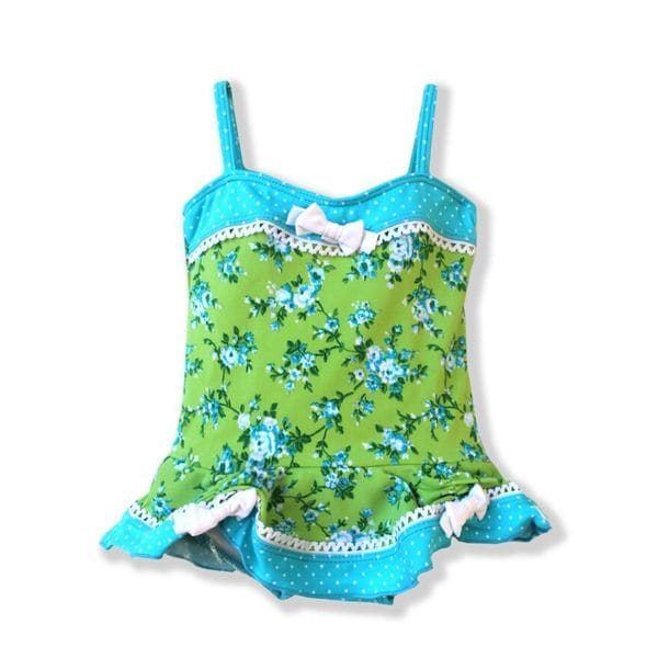 Azul Swimwear Blue Green Spandex Blend Garden Party Infant Skirted One-piece Swimsuit