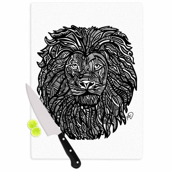 Kess InHouse Adriana De Leon 'The Leon' Lion Illustration Cutting Board