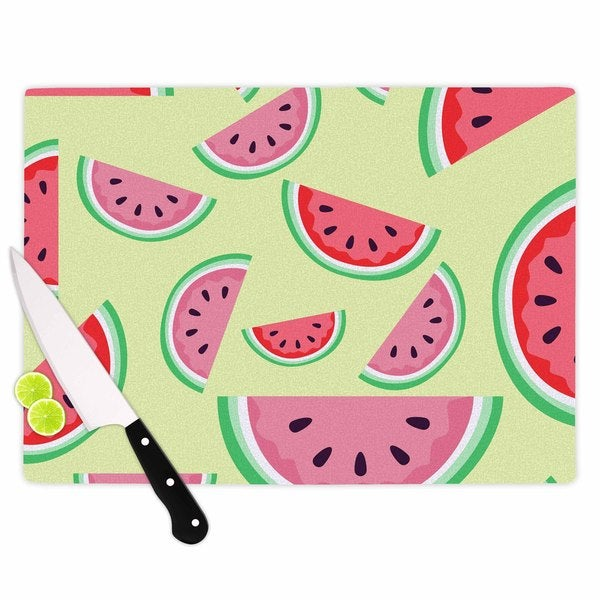 Kess InHouse Afe Images Watermelon Background Pink Glass Cutting Board