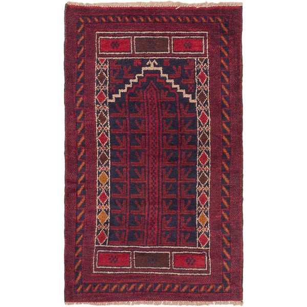 eCarpetGallery Hand-knotted Baluch Blue/Red Wool Rug (2'9 x 4'6) 21720251