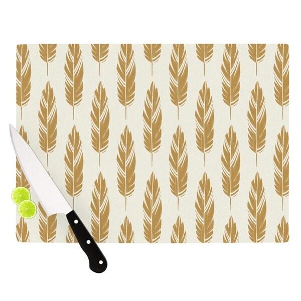 Kess InHouse Amanda Lane 'Feathers Yellow Cream' Mustard-patterned Tempered Glass Cutting Board