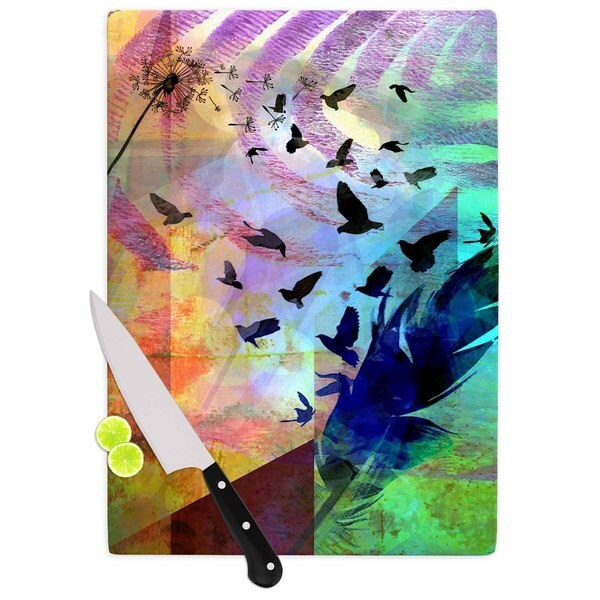 Kess InHouse AlyZen Moonshadow Not Quite Birds of a Feather Multicolor Glass Cutting Board