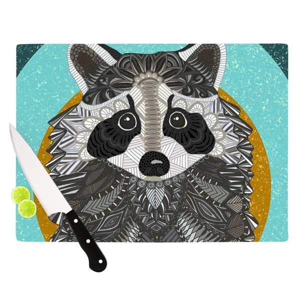 Kess InHouse Art Racoon in Grass Grey and Teal Glass Cutting Board