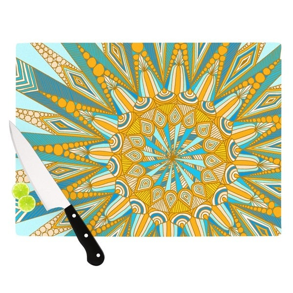 Kess InHouse Art Love Passion 'Here Comes The Sun' Blue and Yellow Tempered Glass Cutting Board