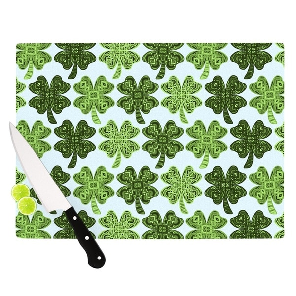 Kess InHouse Art Lucky You Green Glass Shamrock Cutting Board