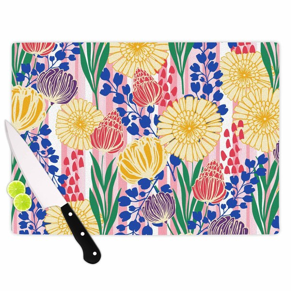 KESS InHouse Amy Reber Pretty Bouquet Yellow Floral Cutting Board