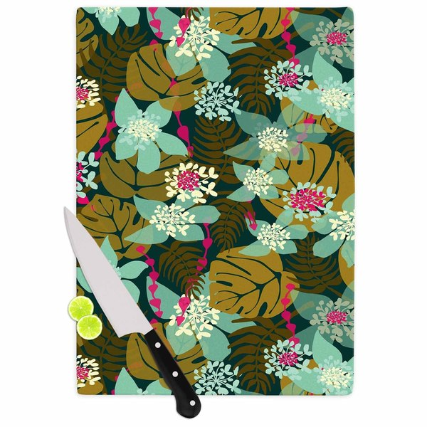 Kess InHouse Amy Reber 'Green Tropical' Tropical Floral Cutting Board