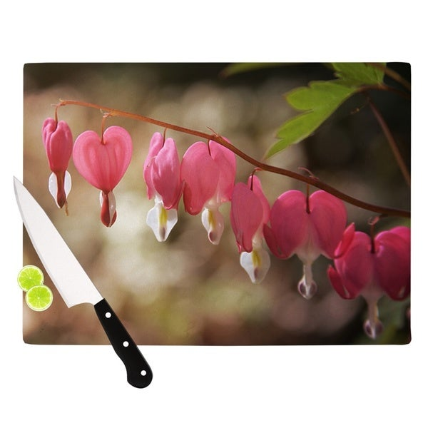 Kess InHouse Angie Turner 'Bleeding Hearts' Pink Glass Cutting Board