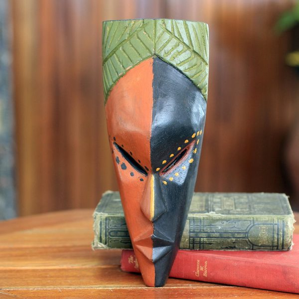 Handcrafted Sese Wood 'Handsome Young Man' African Wall Mask (Ghana)