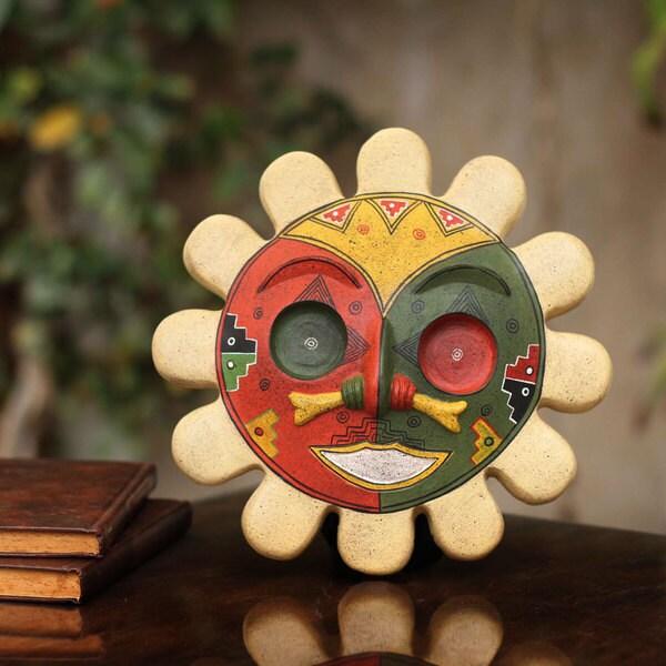 Handmade Ceramic 'Rising Sun' Sun God Mask (Peru) 21722198