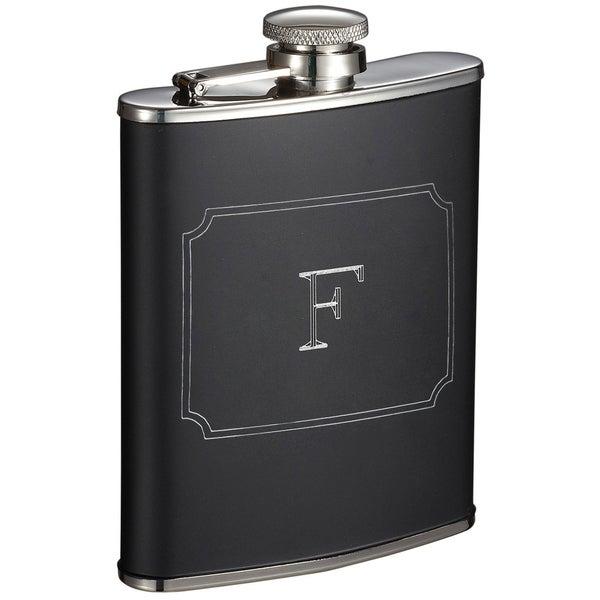 Visol Marcel Black Matte 6 oz Liquor Flask with Engraved Initial - Letter F