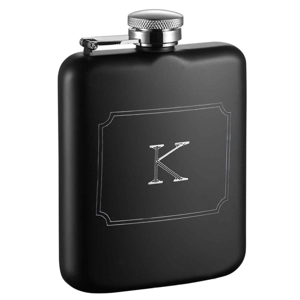 Visol Podova Black Matte 6 oz Flask with Engraved Initial - Letter K