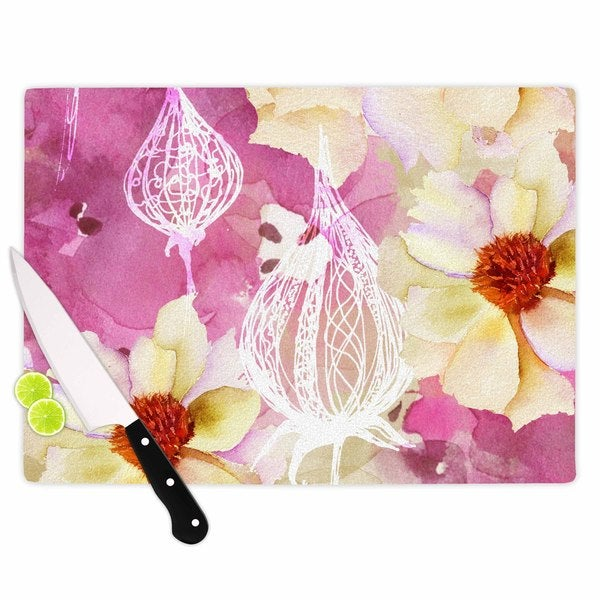 KESS InHouse Liz Perez 'SWEET FLORIST' Cream Pink Cutting Board