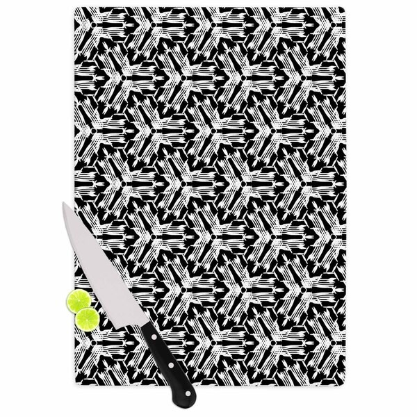 Kess InHouse Laura Nicholson 'Y Knot' Black and White Tempered Glass Cutting Board