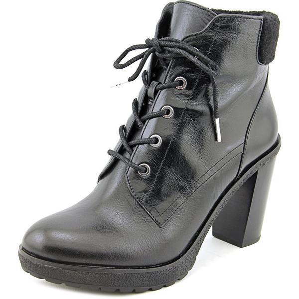 Michael Michael Kors Women's Kim Lace Up Bootie Black Leather Ankle Boots