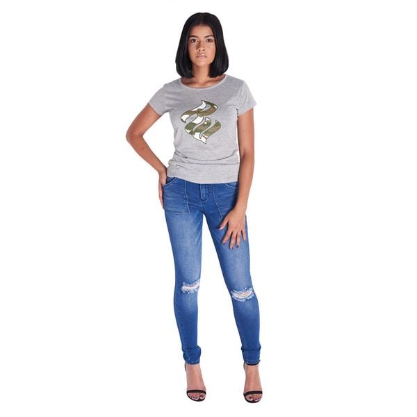 Rocawear Blue Denim Patch Pocket Cargo Skinny Jean