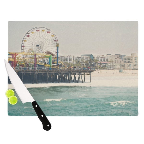 "KESS InHouse Laura Evans ""The Pier at Santa Monica"" Coastal Teal Cutting Board"