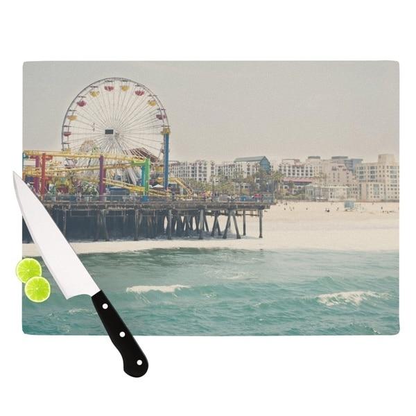 "KESS InHouse Laura Evans ""The Pier at Santa Monica"" Coastal Teal Cutting Board"