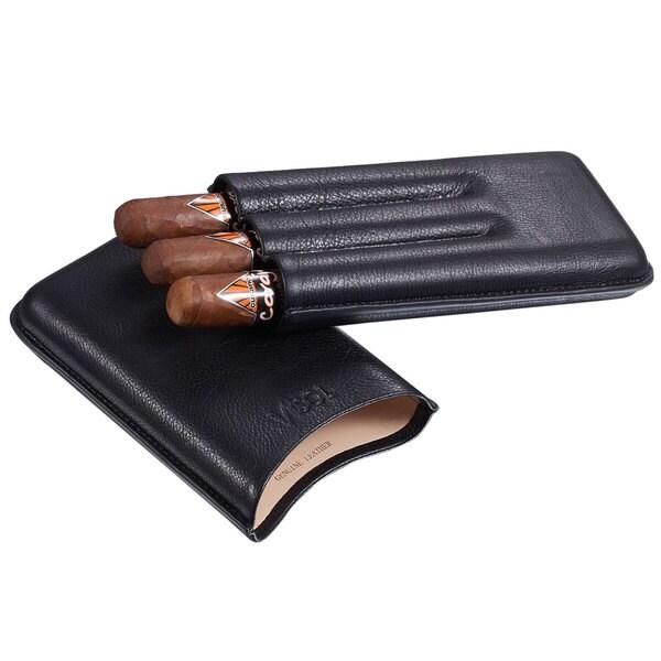 Visol Legend Black Genuine Leather Cigar Case - Holds 3 Cigars up to 60 Ring Gauge