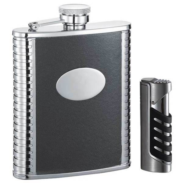 "Visol ""Tux"" and ""Presa"" Flask and Lighter Gift Set"