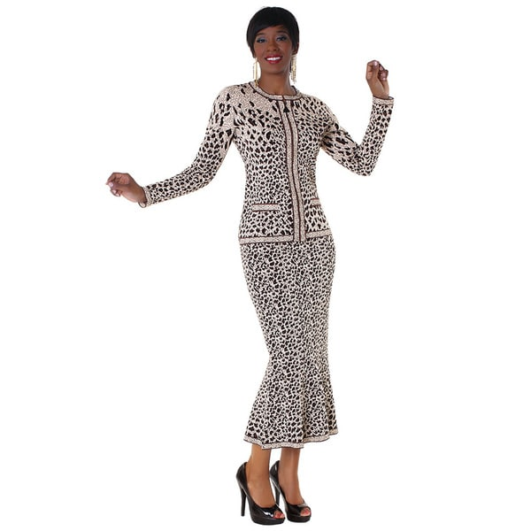 Kayla Collection Animal Print Knit Suit