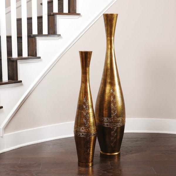 Antique Gold Trumpet Vase