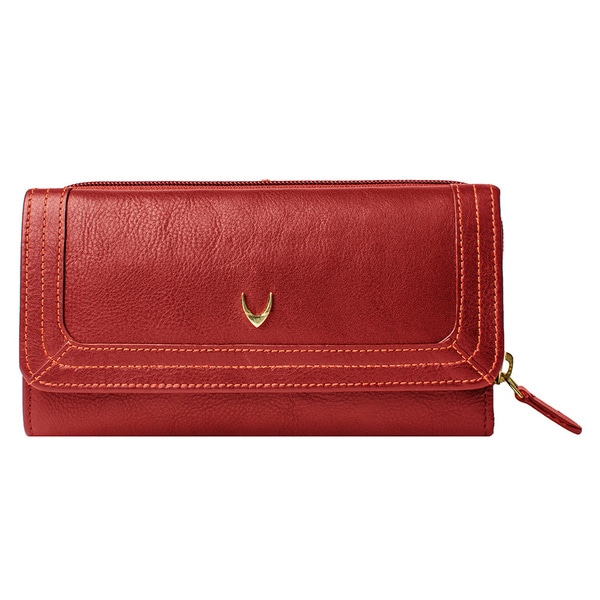 Hidesign Cerys Red/Brown Leather Trifold Wallet