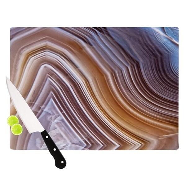 """KESS InHouse KESS Original """"Pale Layered Agate"""" Blue Brown Cutting Board"""