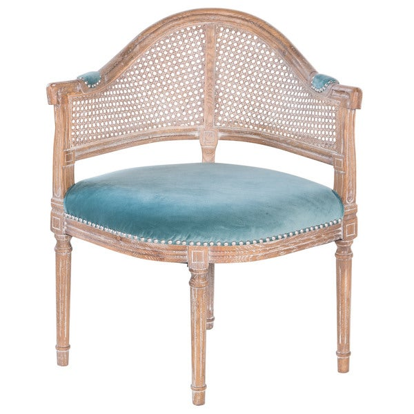 Fae French Antique Cane Blue Velvet Barrel Back Chair