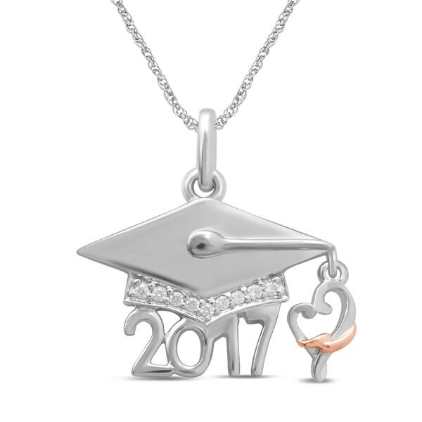 Unending Love Sterling Silver Diamond Accent 2017 Graduation Loving Arm Pendant
