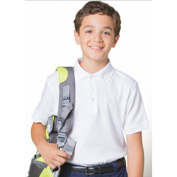 French Toast Boys' White/Blue/Yellow Cotton/Polyester Short-sleeve Interlock Knit Polo Shirt