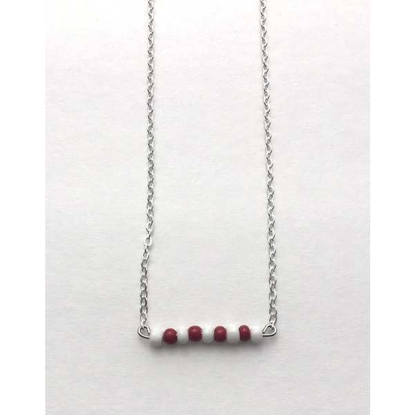 White and Maroon Beaded Game Day Necklace
