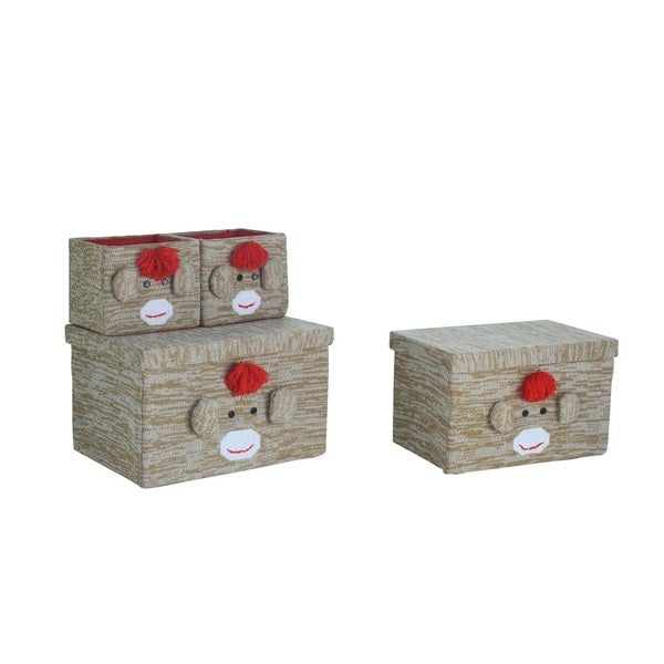 4-Piece Monkey Brown Fabric Storage Box Set