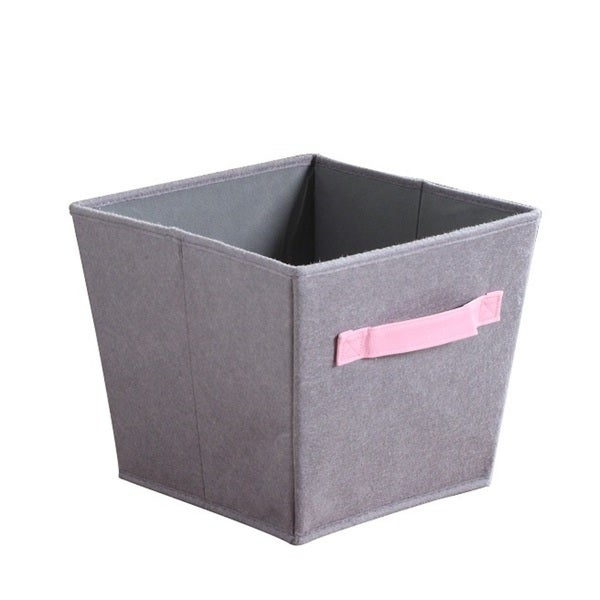 3 Pack Grey/Pink Felt Storage Bins