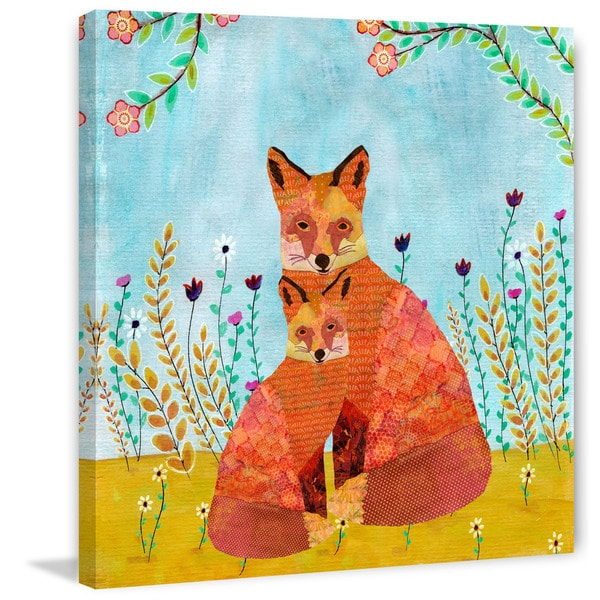 Marmont Hill - 'Autumn Foxes' by Sascalia Painting Print on Wrapped Canvas