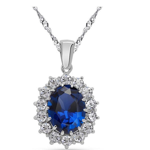 Oval Crystal and Rhinestone Pendant Necklace