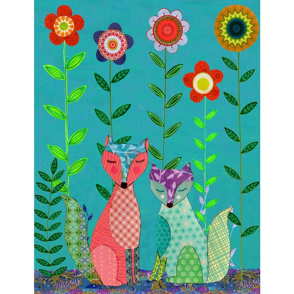 Marmont Hill - 'Two Foxes' by Sascalia Painting Print on Wrapped Canvas