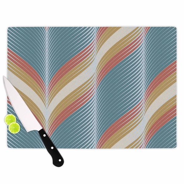 KESS InHouse Karina Edde 'Wavy Chevron' Blue Cutting Board