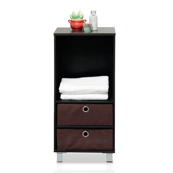 Furinno 10002EX/BR Espresso, Brown 3 Shelves Cabinet, Bedside Night Stand with 2 Bin Drawers