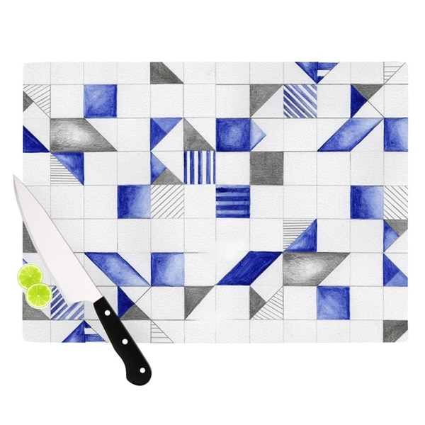 KESS InHouse Kira Crees 'Winter Geometry' White Blue Cutting Board
