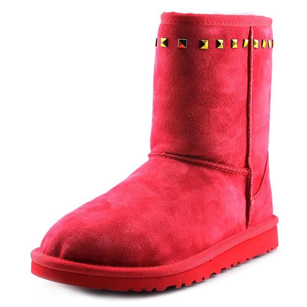 Ugg Australia Girls' Classic Stud Red Regular Suede Boots