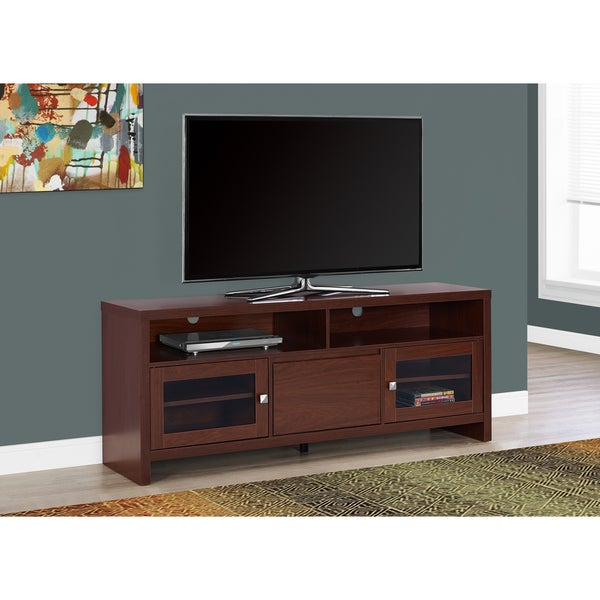 TV STAND - 60-inch WARM CHERRY WITH GLASS DOORS 21739920