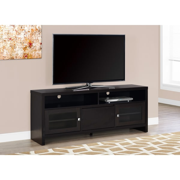TV STAND - 60-inch  CAPPUCCINO WITH GLASS DOORS 21739941
