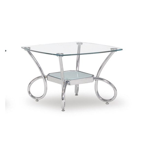 Global Furniture Clear/Frosted Glass Shelf End Table